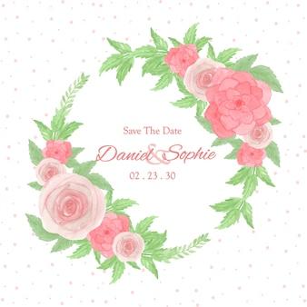 Multifunctioneel bloemframe met prachtige roze rozen en sappig