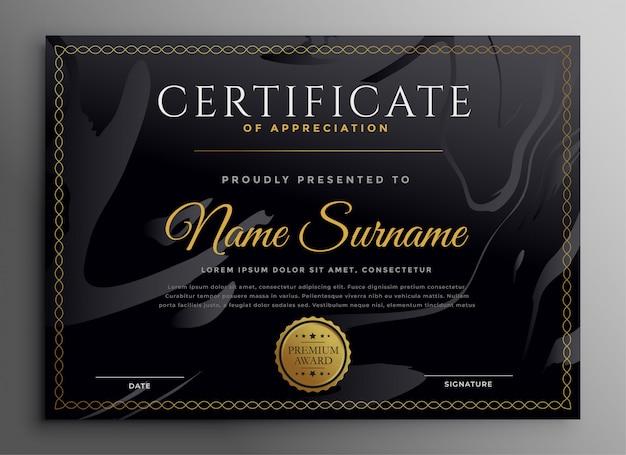 Multifunctioneel certificaatsjabloon in donker gouden themaontwerp