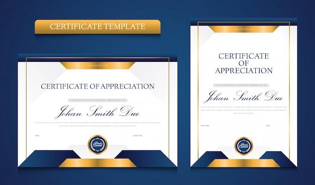 Multifunctioneel modern blauw en goud certificaatsjabloon premium