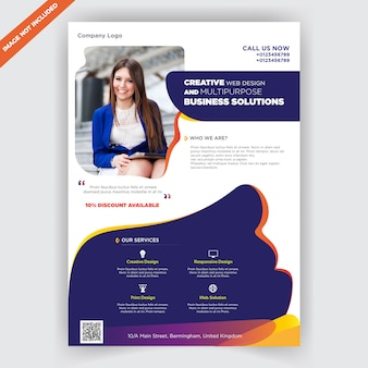 Multifunctionele business flyer ontwerpsjabloon