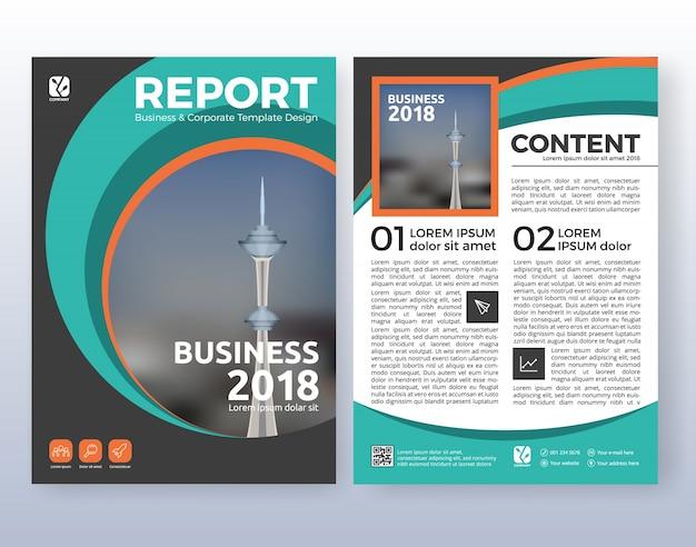 Multifunctionele corporate business flyer layout design. geschikt voor flyer, brochure, boekomslag en jaarverslag. turquoise kleurenschema in a4-formaat lay-out sjabloon achtergrond met bloeden.