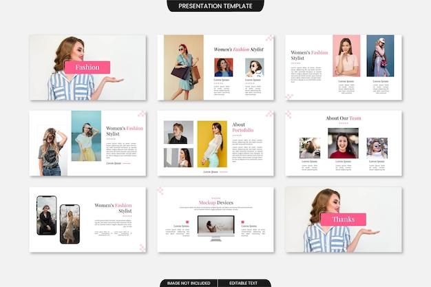 Multifunctionele creative fashion diapresentatiesjabloon 9 pagina's