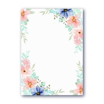 Multifunctionele kaart met blauw roze bloem aquarel