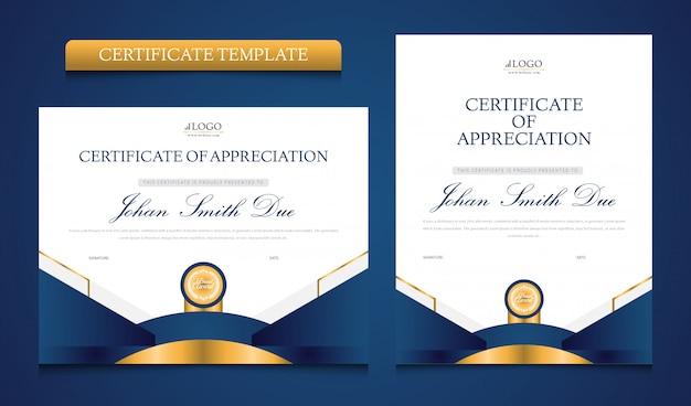 Multifunctionele moderne blauwe en gouden certificaatsjabloon
