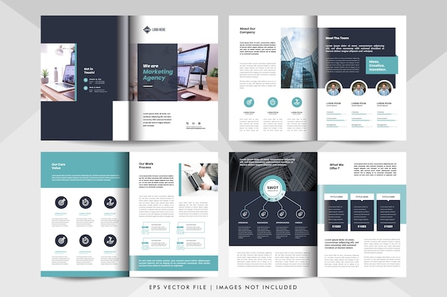Multifunctionele zakelijke presentatie van 8 pagina's, lay-out van het bedrijfsprofiel. zakelijke brochure sjabloon.