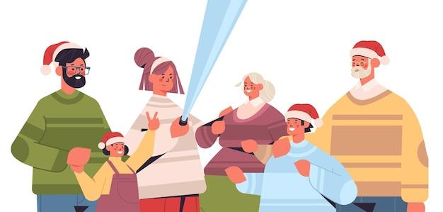 Multigenerational familie in santa hoeden selfie foto op smartphone camera nieuwjaar kerstvakantie viering concept horizontale portret vectorillustratie