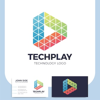 Multikleurige driehoek vorm media play-knop logo in veelhoekige stijl