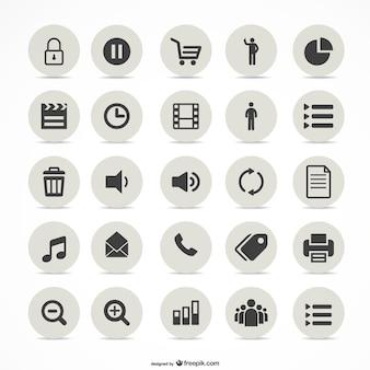 Multimedia eenvoudige pictogrammen set
