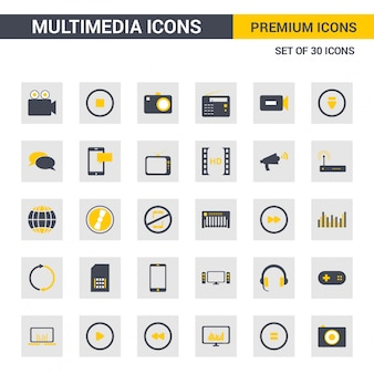 Multimedia grijze en gele pictogrammen