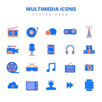 Multimedia-iconen vector pack
