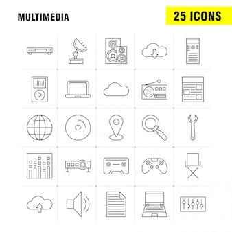 Multimedia lijn icon set