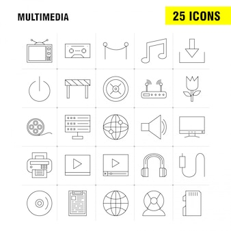Multimedia lijn pictogram