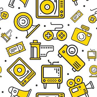 Multimedia lijn pictogrammen naadloze patroon.