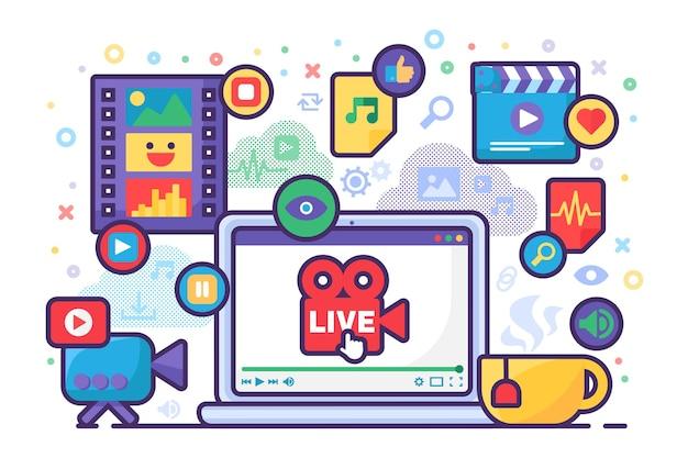 Multimedia live stream productie idee concept icoon. nieuwsinhoud maken voor online uitzendingen semi-platte afbeelding. modern omslagontwerp. vector geïsoleerde kleurtekening