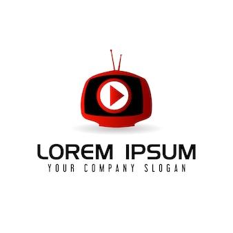 Multimedia tv logo ontwerpsjabloon concept
