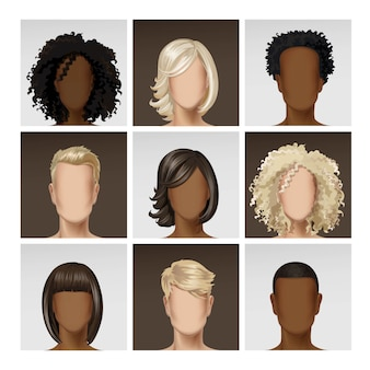 Multinationaal mannelijk vrouwelijk gezicht avatar profiel