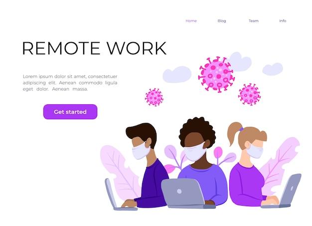 Multinationaal team in gezichtsmasker, online assistent op het werk