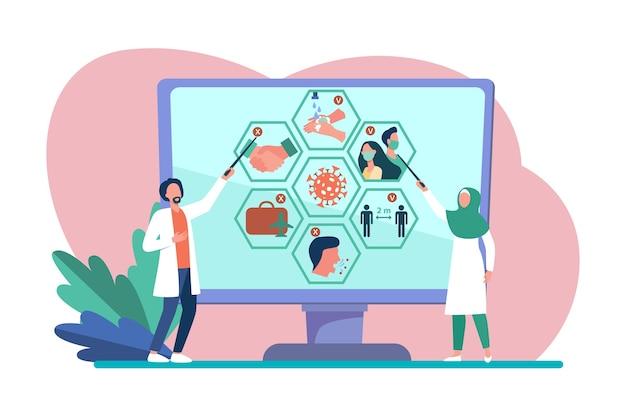 Multinationale artsen die infographics van het coronavirus presenteren. wetenschappers, onderzoeksresultaat, sociale afstand platte vectorillustratie. epidemie, virus