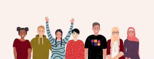Multinationale groep gelukkige mensen afrikaanse aziatische europese studenten mensen van verschillende nationaliteiten en religies cartoon stijl culturele diversiteit vriendschap concept platte vectorillustratie