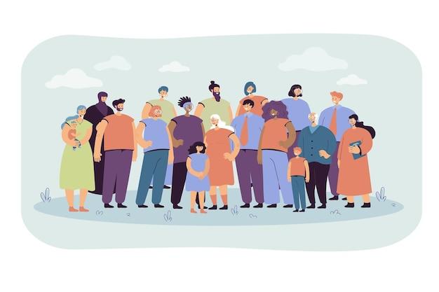 Multinationale menigte van mensen staan samen vlakke afbeelding. portret van cartoon diverse jonge en oude mannen, vrouwen en kinderen