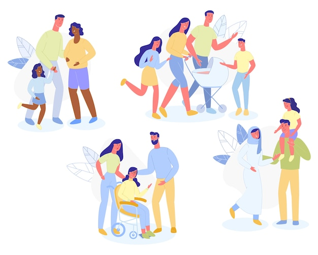 Multiraciaal gezin karakter ouders en kinderen lopen