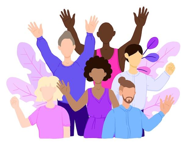 Multiraciale groep mensen die samen staan en elkaar omhelzen.