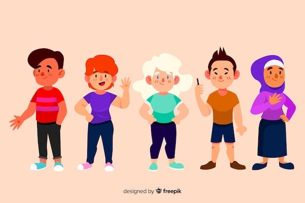 Multiraciale groep mensen plat ontwerp