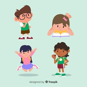 Multiraciale kinderen vrienden plat ontwerp