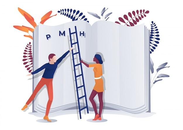 Multiraciale man en vrouw met ladder in de buurt van boek