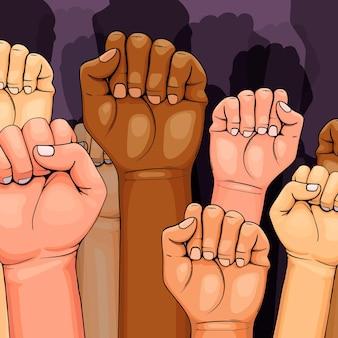 Multiraciale verhoogde vuisten concept