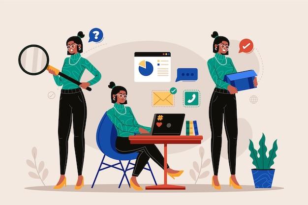 Multitask zakenvrouw plat ontwerp