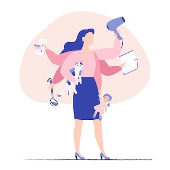 Multitasking bedrijfs vrouw en moeder concept. jonge moeder en bedrijfsvrouw met zes handen die veel taken tegelijkertijd doen.