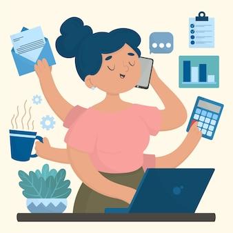 Multitasking concept hand getrokken illustratie