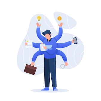 Multitasking concept illustratie karakter