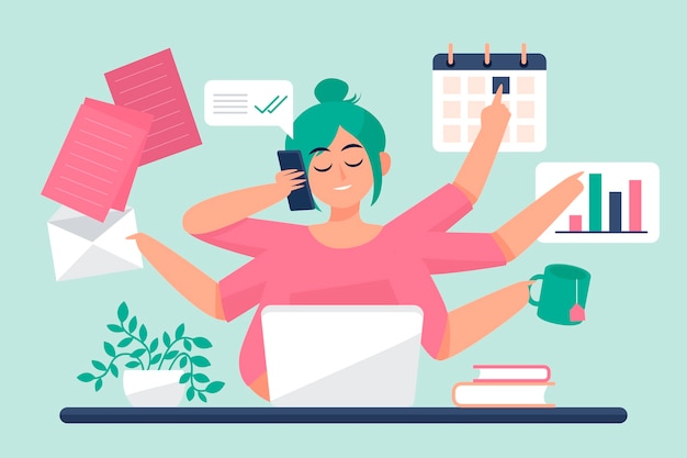 Multitasking concept illustratie