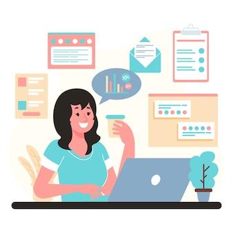 Multitasking conceptenvrouw die op kantoor werkt