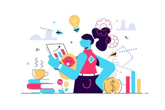 Multitasking drukke moeder en zakenvrouw, vector illustratie kleine persoon concept. een vrouw die probeert te jongleren en een evenwicht te vinden tussen gezinsleven, kinderen, carrière en huishoudelijk werk. moeders onrustige geest verwarde gedachten.
