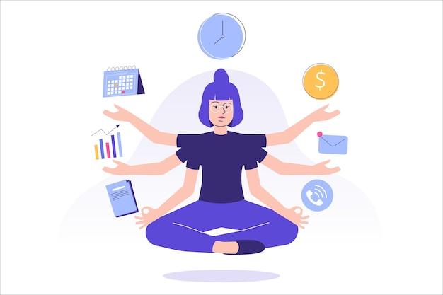 Multitasking en time management concept met een vrouwelijke werknemer