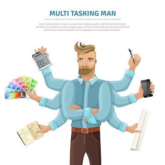 Multitasking man vlakke poster