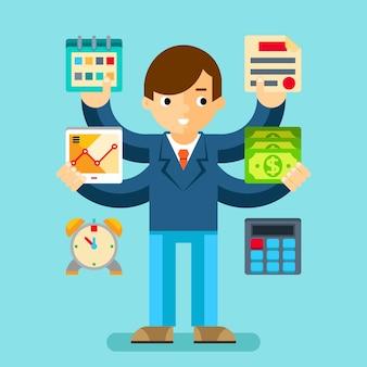 Multitasking manager kantoor. bedrijfsplanning en organisatie, rekenmachine en geld
