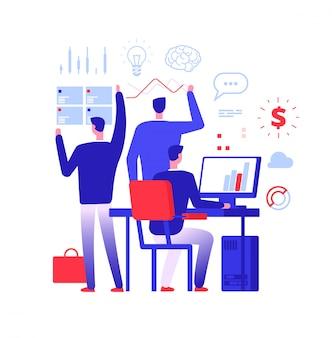 Multitasking manager. zakenman die in verschillende bedrijfsactie dringende taken oplost.