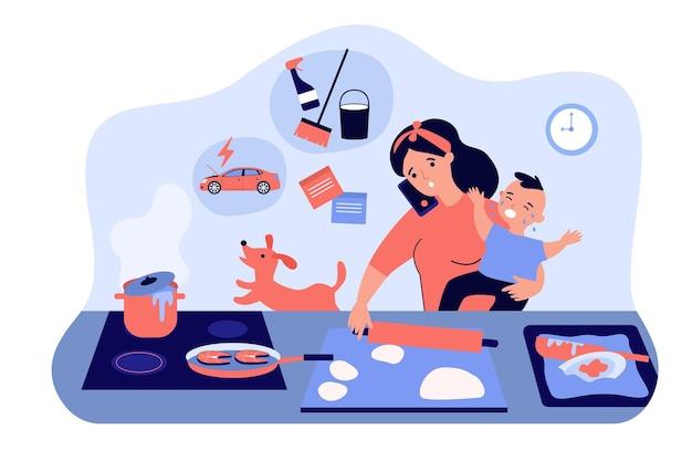 Multitasking moeder met baby platte illustratie