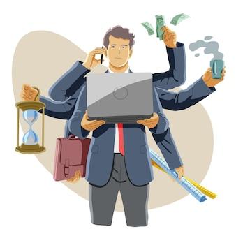 Multitasking of drukke en succesvolle zakenman