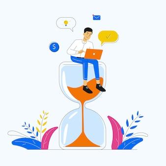 Multitasking, productiviteit en tijdbeheer met man zittend op een zandloper en bezig met laptop