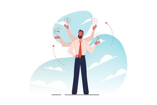 Multitasking, zakelijke efficiëntie, management, concept van professionele competentie.