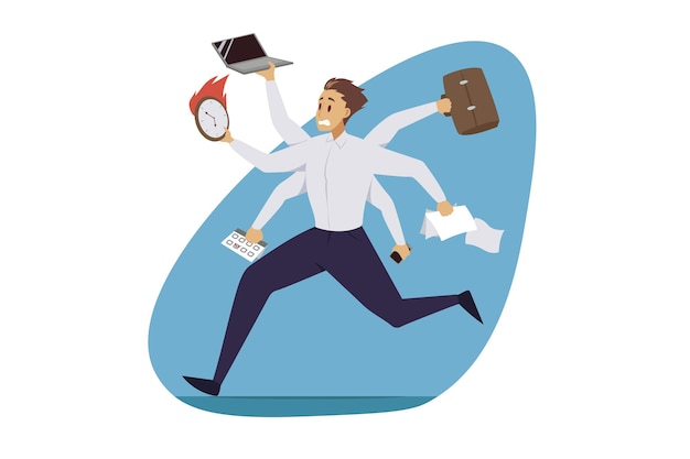 Multitasking, zakelijke efficiëntie, professionele competentie.