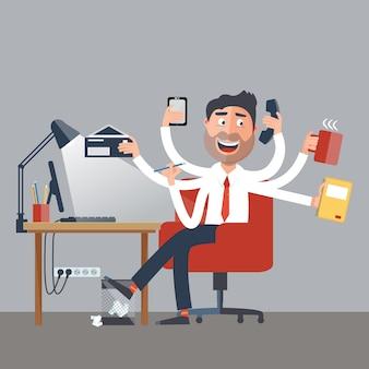 Multitasking zakenman aan het werk op kantoor. happy man heeft zes armen die office-taken uitvoeren. vector illustratie