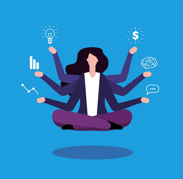 Multitasking zakenvrouw. office manager beheerder doet professionele taken.