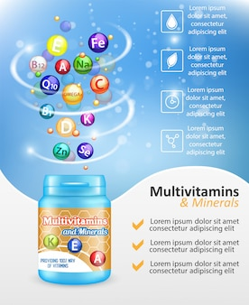 Multivitamine complexe advertentie vector ontwerpsjabloon