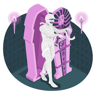 Mummie die uit de illustratie van het doodskistconcept stijgt